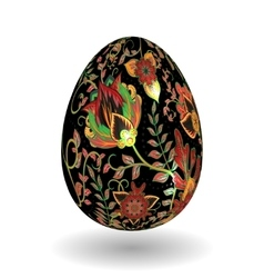 Gold egg with hand draw floral ornate isolated on vector