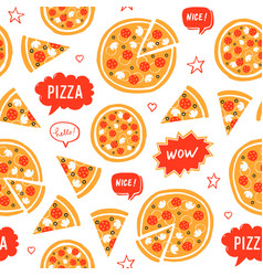Hand drawn pizza and speech bubbles with words vector