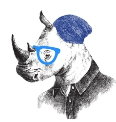 Hand drawn rhino in hipster style vector