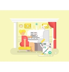 Housework robot assistant vector image