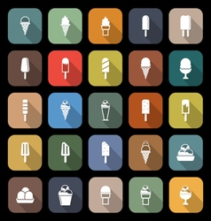 Ice cream flat icons with long shadow vector