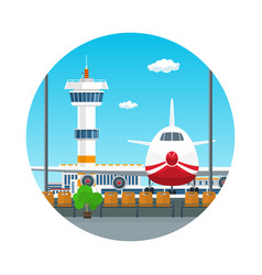 Icon view on airplane and control tower vector