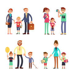 kids and parents in happy family mom dad and vector image vector image