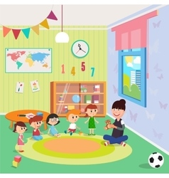 Kindergarden Interior Girls and Boys vector image vector image