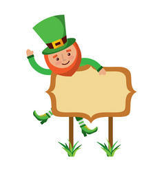 leprechaun on wooden board happy character vector image