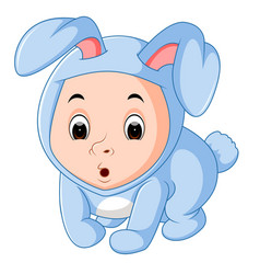 little funny baby wearing rabbit suit vector image