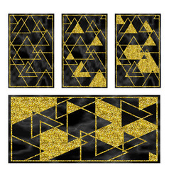 marble black background with golden geometry vector image