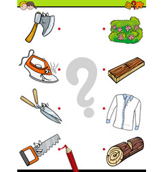 Match objects educational activity game vector