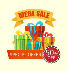 mega sale banner with gift boxes vector image vector image