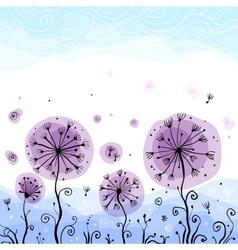 Ornate violet dandelions vector image