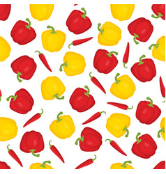 Pattern with bulgarian pepper and chilli vector