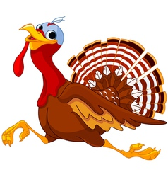 Running cartoon turkey vector