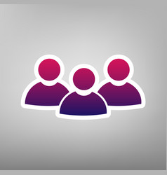 Team work sign purple gradient icon on vector