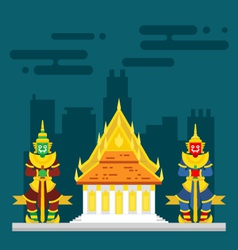 Thailand temple with two giants guarding vector image