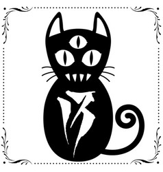 Three eyed black cat with floral frame ornament vector
