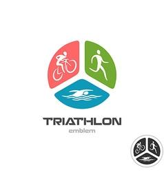 Triathlon sport logo cyclist running and swimming vector