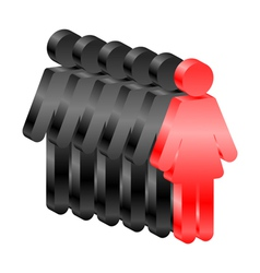 Woman leads men - icon vector image vector image