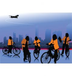 women with bicycle vector image vector image