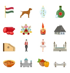 Hungary travel icon set vector