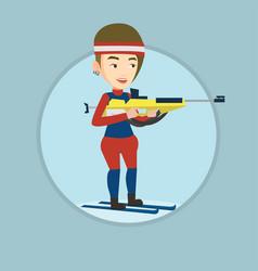 cheerful biathlon runner aiming at the target vector image