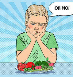 pop art upset child with plate of fresh vegetables vector image