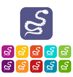Black snake wriggling icons set flat vector