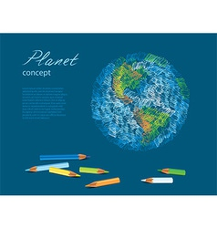 Pencils earth vector