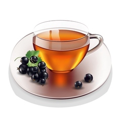 Cup of tea with currant vector