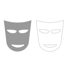 theater mask grey set icon vector image