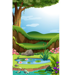 Background scene with lotus in the pond vector