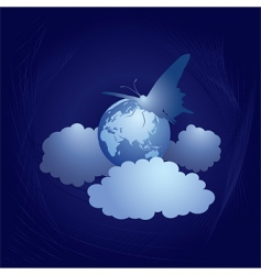 earth and butterfly vector image