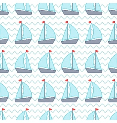 Seamless pattern with pixel sailboats vector