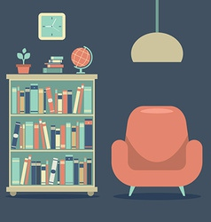 Modern design interior sofa and book cabinet vector