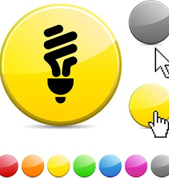 Fluorescent bulb glossy button vector