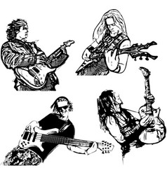 Four guitar players vector