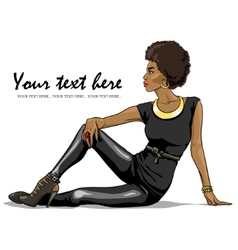 Portrait of beautiful black woman vector image