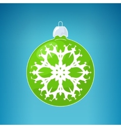 Green ball with snowflake vector