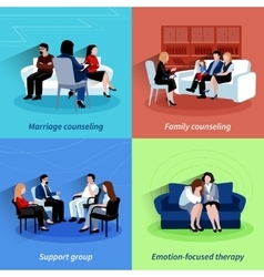 Relationship counseling 4 flat icons quare vector