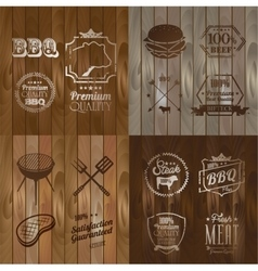 Bbq beef menu restaurant symbol on wooden striped vector