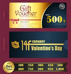 Valentine day gift voucher template with premium p vector