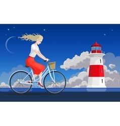 Girl on the bicycle and lighthouse vector