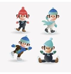 Set monkeys on skates vector