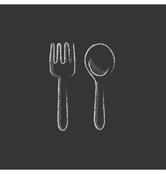Spoon and fork drawn in chalk icon vector