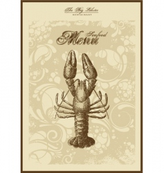 menu fish and seafood vector image