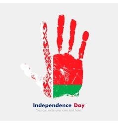 Handprint with the flag of belarus in grunge style vector