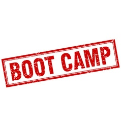 Boot camp red grunge square stamp on white vector
