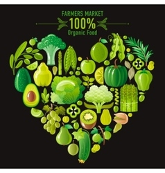 Vegetarian food icon set with organic fruits and vector