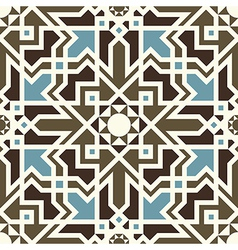 Arabesque seamless pattern in blue and brown vector image
