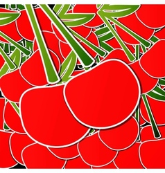 Background from cherries with an arrow by organic vector image vector image
