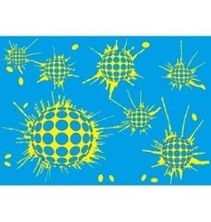 Background halftone blot balls blue vector